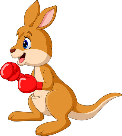 Cartoon kangaroo boxing isolated on white background Ilustracja