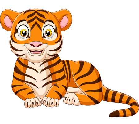 Vector illustration of Cartoon funny tiger isolated on white background