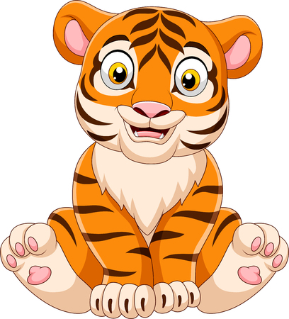 Vector illustration of Cartoon baby tiger sitting Banque d'images - 118341847