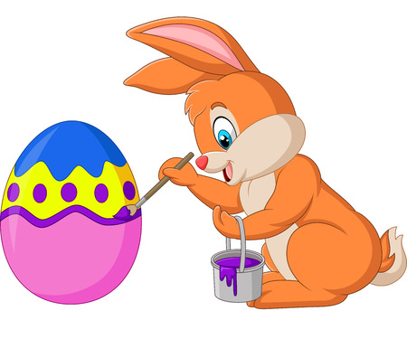 Vector illustration of Easter bunny painting an egg