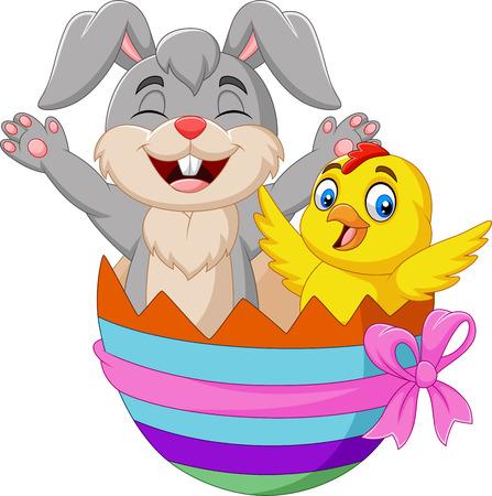 Vector illustration of Cartoon rabbit and baby chick inside an Easter egg Illustration