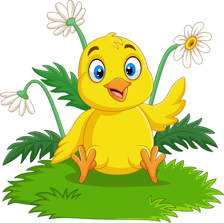 Vector illustration of Cartoon baby chick sitting on the grass