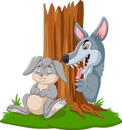 Vector illustration of wolf hunt a rabbit sleeping under a tree