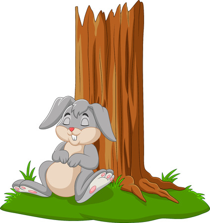 Vector illustration of Cartoon rabbit sleeping under tree