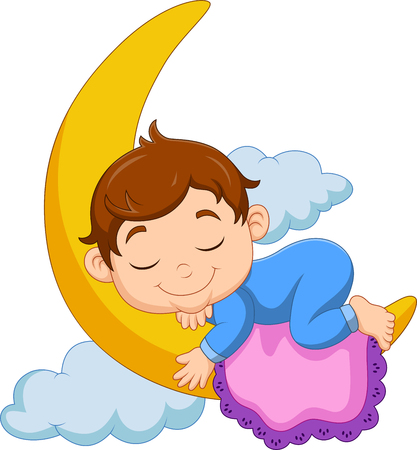 Vector illustration of Cartoon baby boy sleeping on the moon