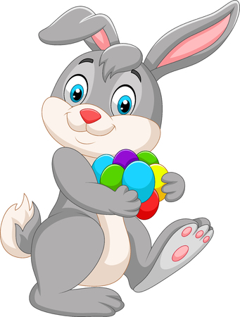 Vector illustration of Cartoon Easter bunny carrying colorful eggs