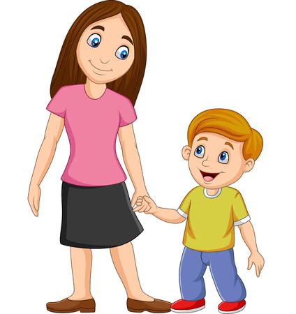 Illustration vectorielle de mère de bande dessinée tenant la main de son fils