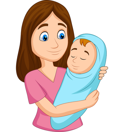 Vector illustration of Happy Mother carrying newborn baby wrapped in blue Illustration