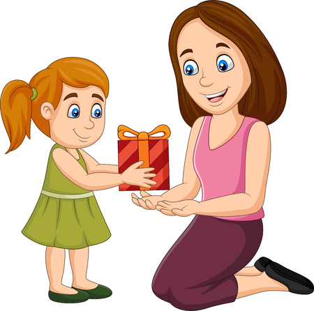 Vector illustration of Little girl giving a gift box to her mother Illusztráció