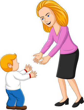 Illustration of young mother playing with her son