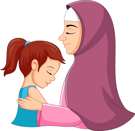Illustration of a muslim mother hugging her daughter Illustration