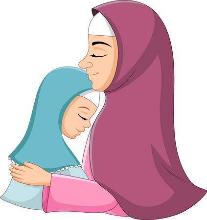 Vector illustration of Happy muslim mother hugging her daughter