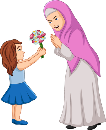Vector illustration of Little girl giving a bunch of flowers to her mother