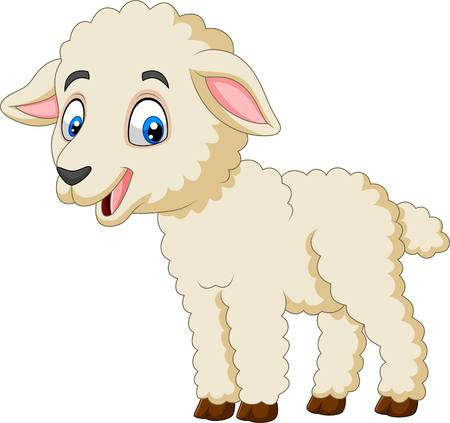 Vector illustration of Cartoon happy lamb isolated on white background