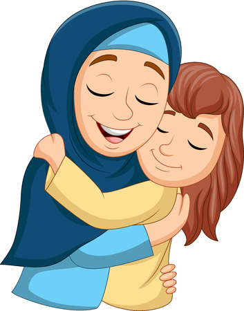 Vector illustration of Muslim mother hugging her daughter