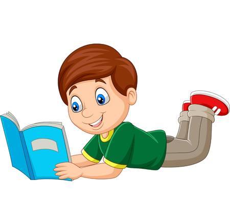 Illustration vectorielle de garçon de dessin animé fixant et lisant un livre