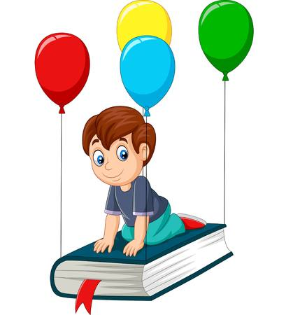 Vector illustration of Cartoon schoolboy flying on a book Ilustração