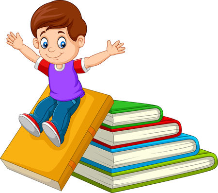 Vector illustration of Cartoon little boy playing with large books
