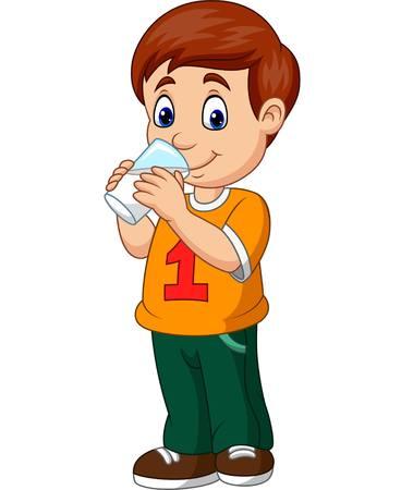Ilustración de vector de niño de dibujos animados bebiendo leche