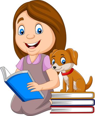Girl reading book with cute little dog