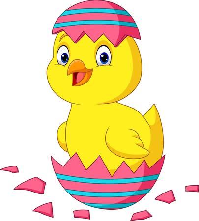 Dessin animé petit poussin éclos d'un œuf de Pâques