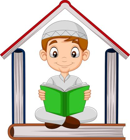Cartoon Muslim boy reading a book with pile of books forming a house