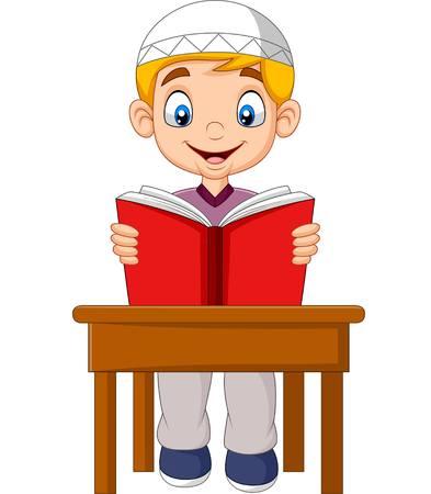 Cartoon Muslim boy reading a book Stock Illustratie