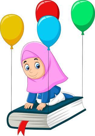 Cartoon Muslim schoolgirl  flying on a book Stock Illustratie