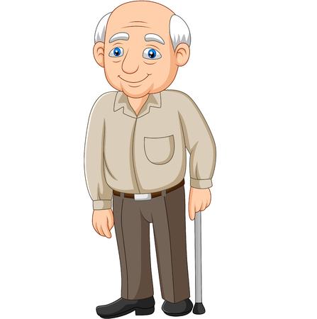 Cartoon senior elderly old man