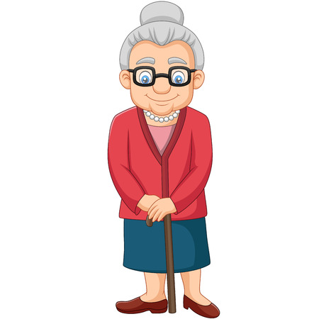 Dessin animé vieille femme avec une canne Vecteurs