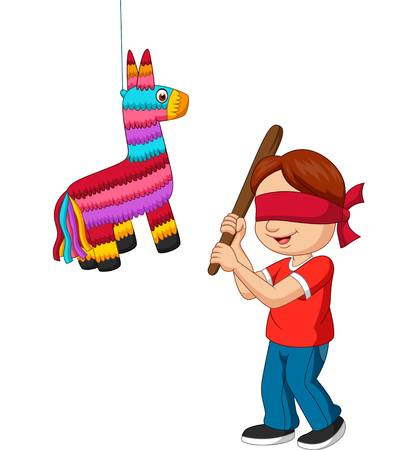 Cartoon boy hitting pinata game