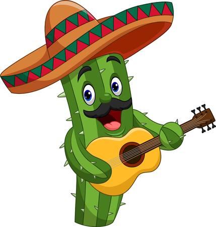 Cartoon mexikanischer Kaktus, der Gitarre spielt Vektorgrafik