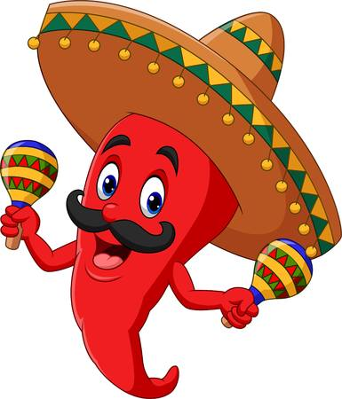 Cartoon chili pepper playing maracas