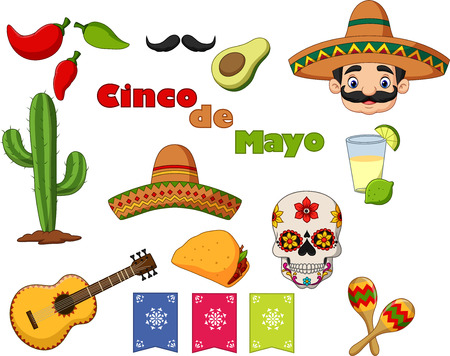 Vector illustration of Collection of Cinco de Mayo design elements