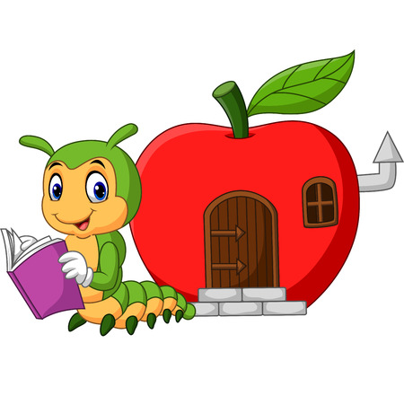 Vector illustration of Cartoon funny caterpillar reading book Banque d'images - 121431842