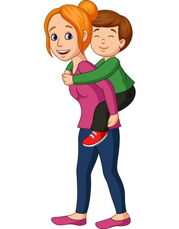 Vector illustration of Mother giving her son piggyback ride