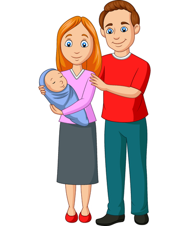 Vector illustration of Happy family cartoon Illustration