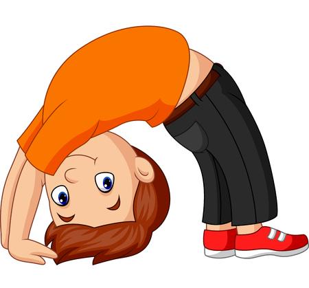 Vektor-Illustration eines Jungen, der Yoga-Pose mit nach oben gerichtetem Bogen übt