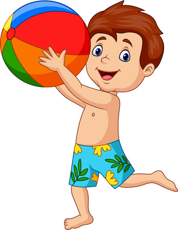 Vector illustration of Cartoon happy boy holding beach ball Çizim