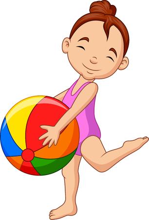 Vector illustration of Cartoon happy girl holding a beach ball Ilustrace