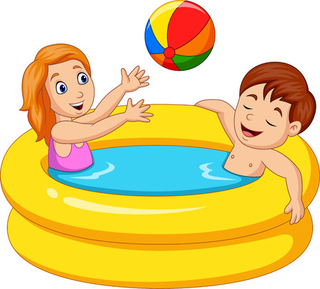 Illustration vectorielle de petite fille et garçon jouant dans une piscine gonflable