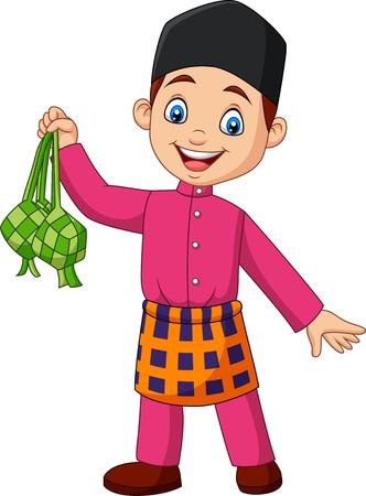 Vector illustration of Cute Muslim boy holding a Ketupat Illustration