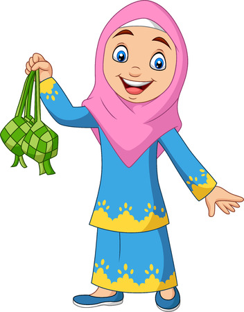 Vector illustration of Cute Muslim girl holding a Ketupat