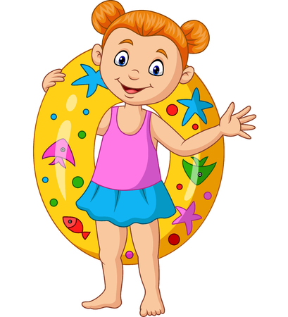 Vector illustration of Cartoon little girl with inflatable ring