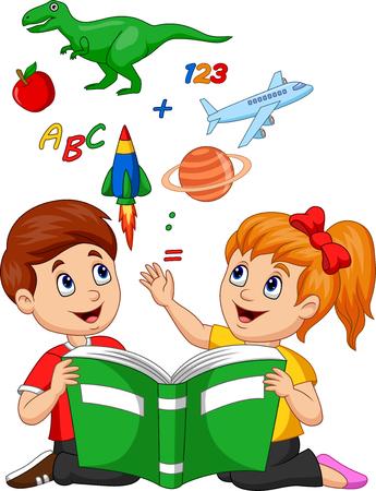 Illustrazione vettoriale di cartoni animati per bambini che leggono il concetto di educazione del libro con mela, dinosauro, pianeta Saturno, navetta spaziale e aeroplano Vettoriali