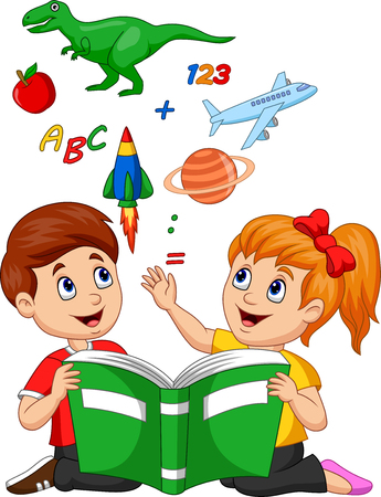 Vector illustration of Cartoon kids reading book education concept with apple, dinosaur, planet Saturn, space shuttle and airplane