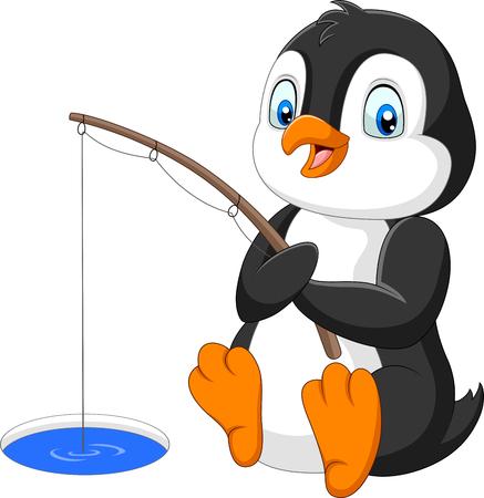 Ilustración de vector de pingüino de dibujos animados pescando en el hielo ártico