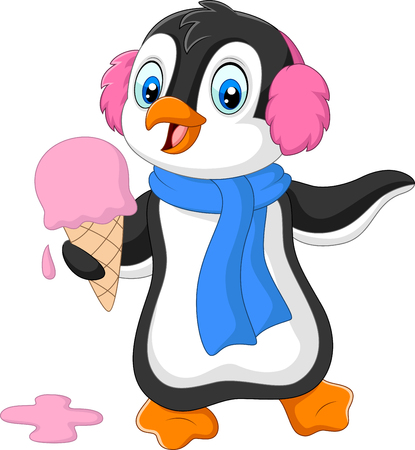 Vector illustration of Cartoon penguin with earmuffs and scarf eats an ice cream