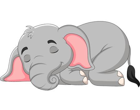 Vector illustration of Cartoon elephant sleeping on white background