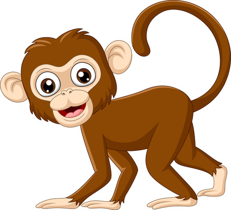 Vector illustration of Cute baby monkey on white background